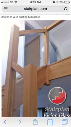 Glass and wood banister from Stairplan Oak Handrail, Stair Banister, New Staircase, Banisters, Staircase Design, Oak Stairs, Glass Stairs, Staircase Manufacturers, Timber Stair
