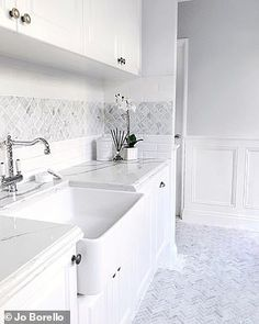 Young woman behind 'Hamptons-style' home in Perth reveals DIY secrets For instance, Jo painted several areas of the house herself, as well as doing the wainscoting [deco Hamptons Kitchen, Hamptons House, The Hamptons, Laundry Room Design, Laundry In Bathroom, Budget Bathroom, Master Bathroom, Bathroom Ideas, Bathroom Styling