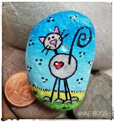 Painted Rock Animals, Painted Rocks Craft, Hand Painted Rocks, Pebble Painting, Pebble Art, Stone Painting, Rock Painting Patterns, Rock Painting Designs, Rock Crafts