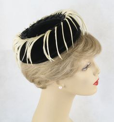 Vintage 1960s Hat Black Velvet Off White Feathered Pillbox