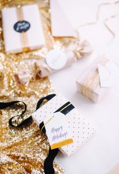 """Michaela describes Hey Look's packages as """"Glittery, blush, girly with black accents — a perfectly pretty holiday gift wrapping for every glitter girl."""" We couldn't agree more!…"""