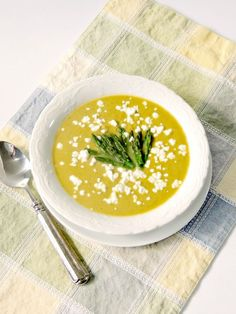 Creamy Asparagus and White Bean Soup with Tangy Goat Cheese is not only delicious, it is healthy