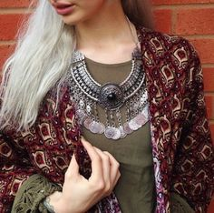 Bohemian Turkish style carving statement necklace by MadeByMiKiShop on Etsy