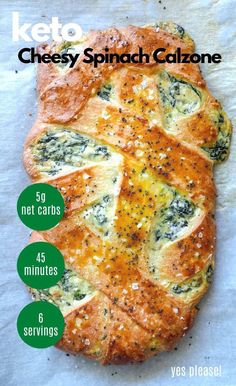 This super delish Cheesy Keto Spinach Calzone is the best low carb calzone you're ever going to eat while keto! Gluten free, and vegetarian too! Keto Dinner Recipes for Rapid Weight Loss Calzone, Ketogenic Recipes, Low Carb Recipes, Diet Recipes, Healthy Recipes, Ketogenic Diet, Dukan Diet, Avocado Recipes, Simple Recipes