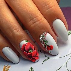 Almond-shaped nails, flower nail art, Luxurious nails, Nails with gems, Nails with poppies, Red and white nails, Splashy nails, Summer nails 2017