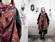 Scarf Shawl OOAK Hooded Scarf Oversized Scarf Floral by Jevda