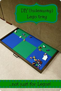 DIY hideaway Lego tray {great for puzzles and games too!} hideaway Lego tray for floor Lego Tray, Lego Table With Storage, Thrifty Decor Chick, My Bebe, Diy Couch, Lego Room, Toy Organization, Lego Organizing, Toy Storage