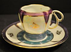 Rare 1920s Art Deco Schoenau Lusterware Demitasse Cup and Saucer from roseknole on Ruby Lane 34 dollars