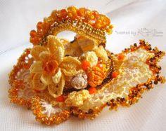 Crochet cuff bracelet Yellow beaded cuff by KSZCrochetTreasures Freeform Crochet, Bead Crochet, Irish Crochet, Beaded Cuff Bracelet, Crochet Bracelet, Boho Stil, Crochet Accessories, How To Make Beads, Crochet Flowers