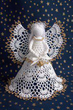 Háčkované vánoce – olejomalba – album na Rajčeti Crochet Angel Pattern, Free Crochet Doily Patterns, Crochet Earrings Pattern, Crochet Coaster Pattern, Crochet Angels, Crochet Christmas Decorations, Holiday Crochet, Crochet Crafts, Crochet Dolls