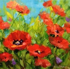 The Gathering - Poppies in Red by Nancy Medina Oil ~ 12 x 12