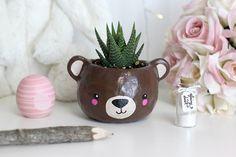Animal bear head polymer clay planter, super cute.