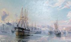 """John Stobart - """"San Fransisco, Deserted Ships in 1849"""""""