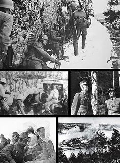 Clockwise from top: German forces advancing near Bagn in Valdres, King Haakon VII of Norway and his son Crown Prince Olav during a German air raid on Molde, German bombing of the coastal fortress Oscarsborg, German Gebirgsjäger troops near Narvik, and Norwegian artillery in action near Narvik. This Day in History:  Apr 9, 1940: Germany invades Norway and Denmark in Operation Weserübung http://dingeengoete.blogspot.com/