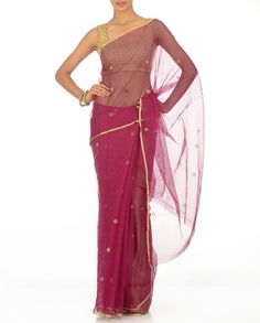 Megenta Zari Kota Sari With Buti N Golden Border  Color blocked Saris - Divya Kanakia's Designs