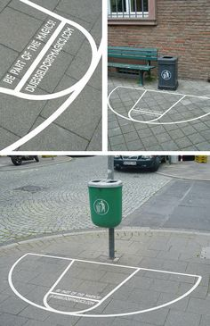 Basketball court sticker placed around garbage cans to make throwing out litter a game.