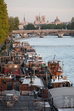 Barges along the Seine, Paris, France. Go to www.YourTravelVideos.com or just click on photo for home videos and much more on sites like this.