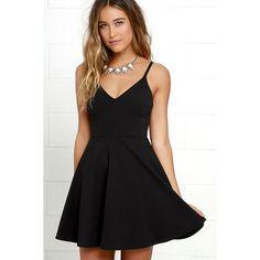 Meet Cute Black Skater Dress ($54) ❤ liked on Polyvore featuring dresses, black, flared skater dress, v neck flare dress, strappy dress, lulus dresses and strappy skater dress