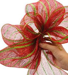 Making a bow with deco mesh. I might try mesh instead of ribbon this year for the tree.