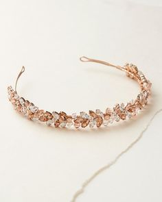 Bridal Wedding Jewelry - This Beautiful Rose Gold Bridal Headband with Pale Pink Crystals will add a touch of color to your wedding ensemble. Hair Jewelry, Wedding Jewelry, Beaded Jewelry, Fashion Jewelry, Beaded Bracelets, Gold Wedding, Bride Hair Accessories, Jewelry Accessories, Accessories Display