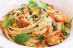 Curtis Stone combines sensational delicious vegetables with fettuccine for a fresh and hearty family dinner.