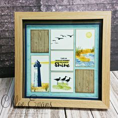 January Stampin' Up! Newsletter - Class Dates, Sale-a-Bration and more. (mini sales stampin up) Box Frame Art, Shadow Box Frames, High Tide Stampin Up, Paper Art, Paper Crafts, Card Crafts, Collage Frames, Collages, Collage Ideas