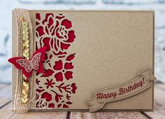 Stampin' Up! UK Feeling Crafty - Bekka Prideaux Stampin' Up! UK Independent Demonstrator: Detailed Floral Thinlits Birthday Card in Crumb Cake and Real Red from Stampin' Up! UK