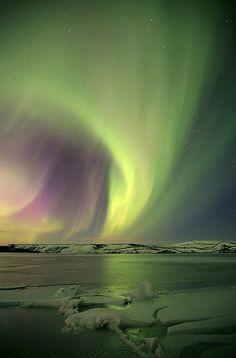 Aurora borealis, Kleifarvatn Lake, Iceland. photo: Olgeir Andrésson.