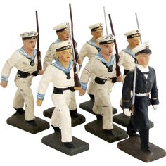 Vintage 1930s Navy Marine Sailor Soldier Officer Cadet Collection 7 x German LINEOL Toy Soldiers
