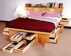 Love that storage under the bed and book shelf over it. Timber.