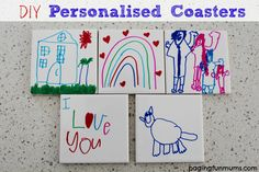 DIY Personalised Coasters. For around 50 cents a piece, these are a fantastic keepsake gift for kids to make!
