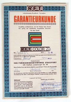 Warranty Card (for the first Color TV-Set from formerly East Germany)