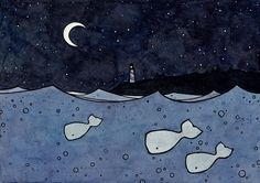 Hey, I found this really awesome Etsy listing at https://www.etsy.com/listing/62694407/whales-and-moon-ink-watercolor-drawing