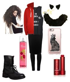 """""""my Halloween costume it's lottle red riding hood with a wolf twist❤🐺"""" by mikayla-burgess ❤ liked on Polyvore featuring Wolford, Alexander McQueen, Steve Madden, Fresh, WearAll and Casetify"""