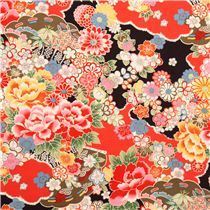 black-red flower fabric from Japan with Japanese flowers and cherry blossoms