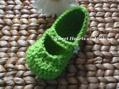 Does your little one love Tinkerbell? These little green handmade crochet Toddler Fairy Belle Mary Jane Shoes could be her new favorite slippers!    Come visit us at www.etsy.com/shop/sweetheartsandsoles for more baby and children's accessories!