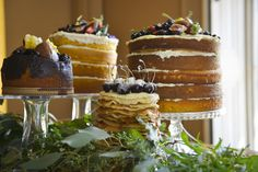 Ethereal Woodland Wedding Naked Cake Dessert Ideas http://www.careysheffield.com/