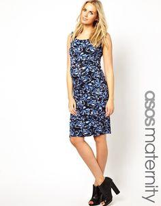 ASOS Maternity Printed Bodycon Dress with Bardot Neckline