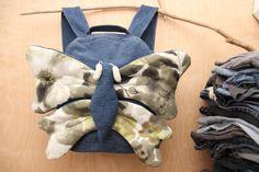 Butterfly backpack, Girl backpack , Girl denim backpack , jeans kids toddler backpack , Butterfly bag , denim bag , green childrens backpack by SecondBirthday on Etsy
