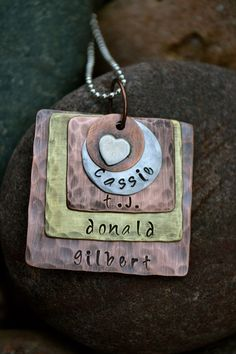 Mother's Metal Stamped Necklace  Square or Circle by ArtisticSoles, $35.00