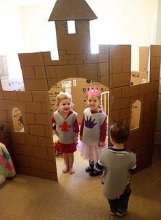 Build a Castle – this would be cute in the preschool room! More from my site Learn how to create a DIY cardboard castle for kids. With these free printable resources, you and your children can build a cardboard castle. Building a Cardboard Castle Dramatic Play Area, Dramatic Play Centers, Fairy Tale Theme, Fairy Tales, Role Play Areas, Cardboard Castle, Cardboard Boxes, Preschool Rooms, Knight Party