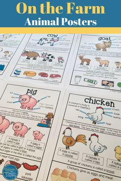 Looking for great farm animal posters for kids? These posters are great to go with an 'On the farm' theme and have information on basic body parts, the farm animal products they give us, collective nouns, male, female and baby names and more. These posters can be used in preschool, kindergarten, 1st grade and even 2nd grade. Use them as posters or use them to create a book. #onthefarm #farmactivities #farmposter #farmanimalproducts