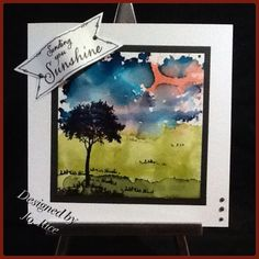 Alcohol inks and Clarity Tree stamp.....
