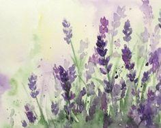 Original Watercolor Lavender, Original Lavender Art, 6x8, Purple Flowers Watercolor Painting, Lavender Field Art
