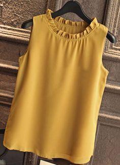 GAREMAY Shirt Women Summer Chiffon Tops White Sleeveless Blouses For Women Clothes Ruffle Elegant Vintage Feminine Shirts Sleeveless Outfit, White Sleeveless Blouse, Formal Blouses, Shirt Blouses, Shirts, Blouse Designs, Chiffon Tops, Blouses For Women, Fashion Outfits