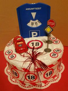 * Pastel de toallas * 18 años * carnet de conducir * coche * ᐅ TOP torta de toallas . 18 Birthday, 18th Birthday Cake, Birthday Balloons, Birthday Presents, Diy Presents, Diy Gifts, Best Gifts For Mom, Towel Cakes, Seasonal Celebration