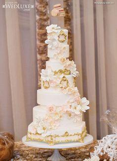 Luxury Ivory and gold trim wedding cake Archives | Weddings Romantique