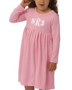 This sweet Long Sleeve Monogrammed Dress should be a staple in every Fall and Winter wardrobe. So comfy, yet still Dolled Up.  With 11 different colors- you can creat all kinds of color combinations! Measurements for our Long Sleeve Monogrammed Dress are below. Available up to Girl's size 8.