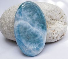 NEW DOMINICAN AA MARBLED OVAL-SHAPE LARIMAR STONE (SLAB TYPE) CABOCHON JEWELRY #DominicanLarimarStone