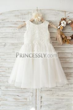Princessly.com-K1003452-Ivory Lace Tulle Wedding Flower Girl Dress with Big  Bow 61413d1f1cba